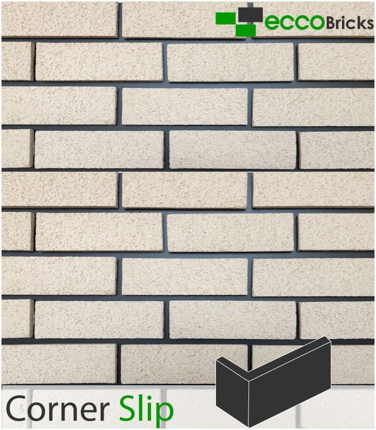 Natural Fenland Ivory White Brick Slip - CORNER
