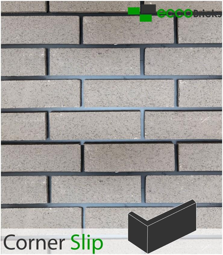 Natural Pendle Silver Grey Brick Slip - CORNER